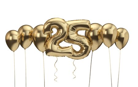 25th birthday gold balloon background. Happy Birthday. 3D Rendering