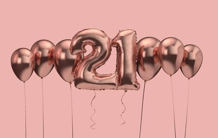 21st birthday pink balloon background. Happy Birthday. 3D Rendering Фото со стока