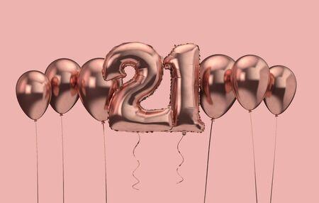 21st birthday pink balloon background. Happy Birthday. 3D Rendering Banco de Imagens