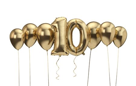 10th birthday gold balloon background. Happy Birthday. 3D Rendering