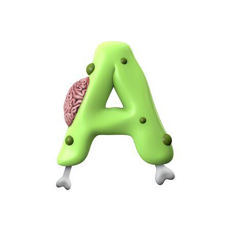 zombie alphabet letter A. Halloween font. 3D Rendering Banco de Imagens
