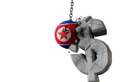 North Korea flag ball smashing a USA dollar currency symbol. 3D Render 写真素材