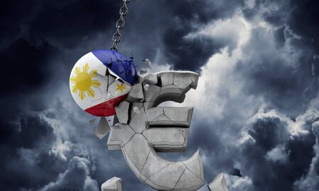 Philippines flag ball smashing a European Euro currency symbol. 3D Render