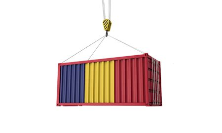 Romania flag cargo trade container hanging from a crane. 3D Render