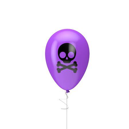 Halloween balloon with skull and cross bone. 3D Render