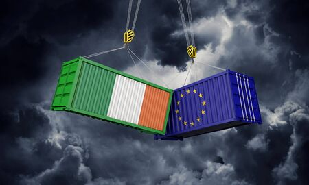 Ireland and europe trade war concept. Clashing cargo containers. 3D Render