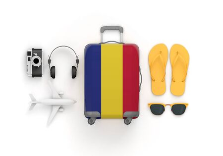 Romania flag suitcase and travel accessories lay flat. 3D Render