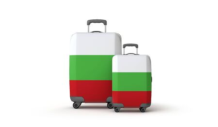 Bulgaria flag holiday destination travel suitcases isolated on white. 3D Render