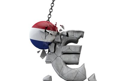 Netherlands flag ball smashing a European Euro currency symbol. 3D Render