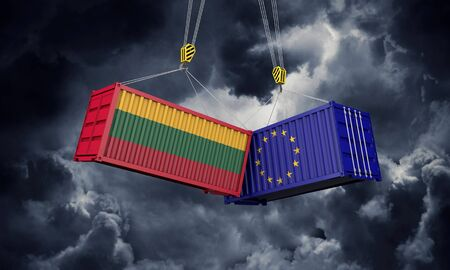 Lithuania and europe trade war concept. Clashing cargo containers. 3D Render Reklamní fotografie
