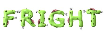 Fright halloween word made from green zombie lettering