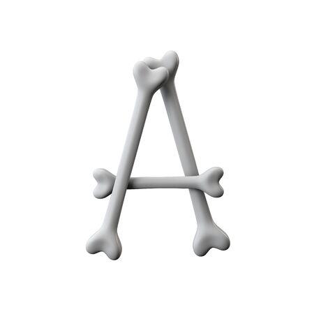 Letter A bone font. Halloween alphabet letter. 3D Rendering Banco de Imagens