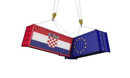 Croatia and europe trade war concept. Clashing cargo containers. 3D Render Stock Photo