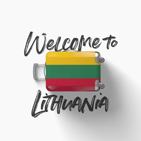Welcome to Lithuania. national flag on a travel suitcase. 3D Render