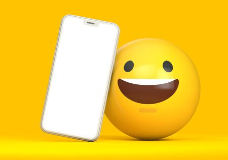 Smartphone mockup with blank screen and fun emoji character. 3D Render