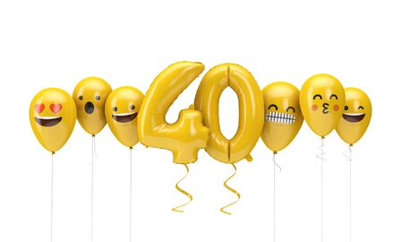 Number 40 yellow birthday emoji faces balloons. 3D Render 스톡 콘텐츠