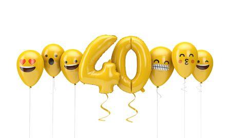 Number 40 yellow birthday emoji faces balloons. 3D Render Stok Fotoğraf