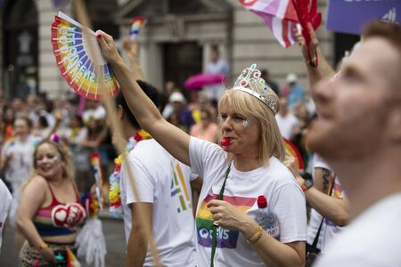 LONDON, UK - July 6th 2019: People take part in the annual gay pride march in central London