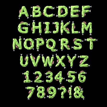 Zombie halloween alphabet. 3D Rendering