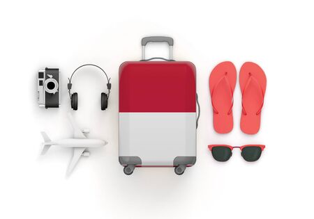 Indonesia flag suitcase and travel accessories lay flat. 3D Render