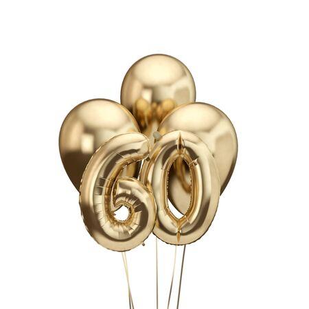 60th birthday gold foil bunch of balloons. Happy birthday. 3D Rendering Stock fotó