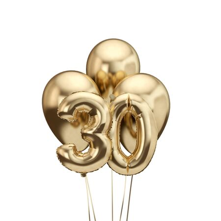 30th birthday gold foil bunch of balloons. Happy birthday. 3D Rendering Stok Fotoğraf