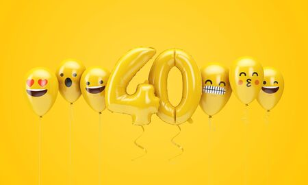 Number 40 yellow birthday emoji faces balloons. 3D Render Stok Fotoğraf