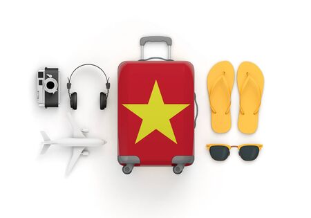 Vietnam flag suitcase and travel accessories lay flat. 3D Render