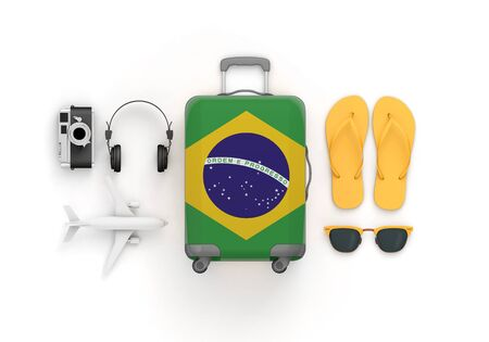 Brazil flag suitcase and travel accessories lay flat. 3D Render