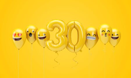 Number 30 yellow birthday emoji faces balloons. 3D Render