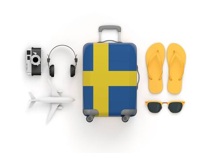 Sweden flag suitcase and travel accessories lay flat. 3D Render Standard-Bild