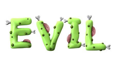 Evil halloween word made from green zombie lettering