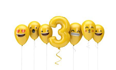 Number 3 yellow birthday emoji faces balloons. 3D Render Stok Fotoğraf