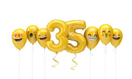 Number 35 yellow birthday emoji faces balloons. 3D Render Stok Fotoğraf
