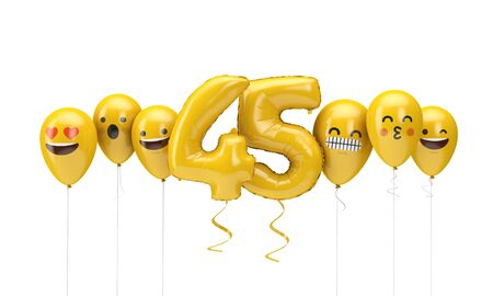 Number 45 yellow birthday emoji faces balloons. 3D Render Stok Fotoğraf