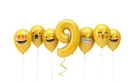 Number 9 yellow birthday emoji faces balloons. 3D Render Stock fotó