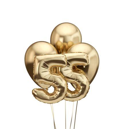 55th birthday gold foil bunch of balloons. Happy birthday. 3D Rendering