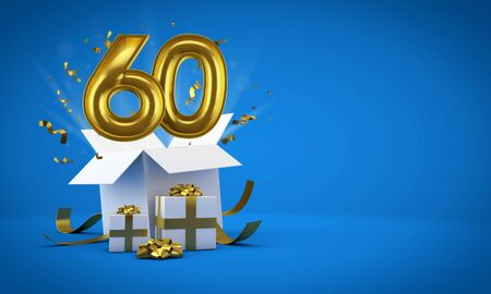 Number 60 exploding from a birthday present gift box. 3D Render Фото со стока