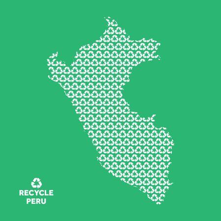 Peru map made from recycling symbol. Environmental concept Illusztráció