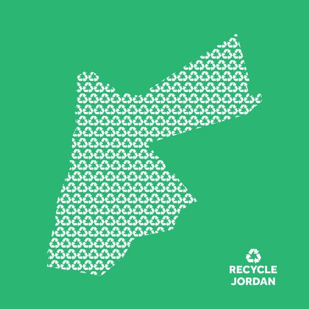 Jordan map made from recycling symbol. Environmental concept