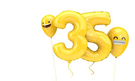 Number 35 birthday ballloon with emoji faces balloons. 3D Render