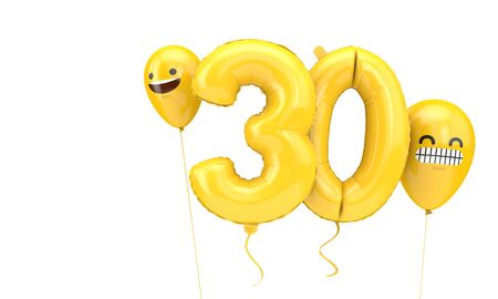 Number 30 birthday ballloon with emoji faces balloons. 3D Render Stok Fotoğraf