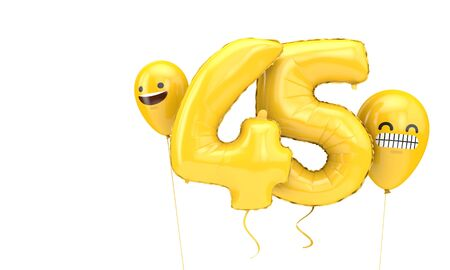 Number 45 birthday ballloon with emoji faces balloons. 3D Render