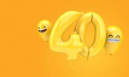 Number 40 birthday ballloon with emoji faces balloons. 3D Render Stok Fotoğraf