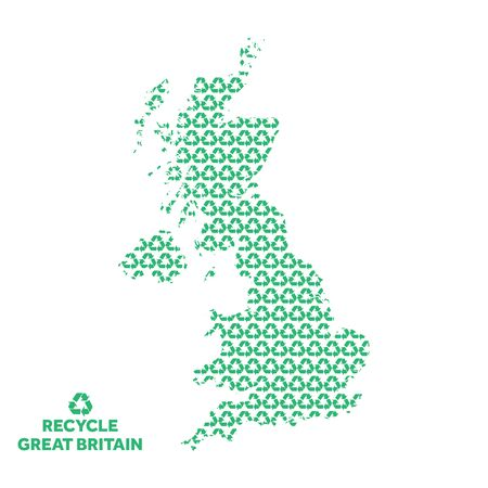 UK map made from recycling symbol. Environmental concept