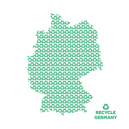 Germany map made from recycling symbol. Environmental concept Vettoriali