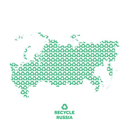Russia map made from recycling symbol. Environmental concept