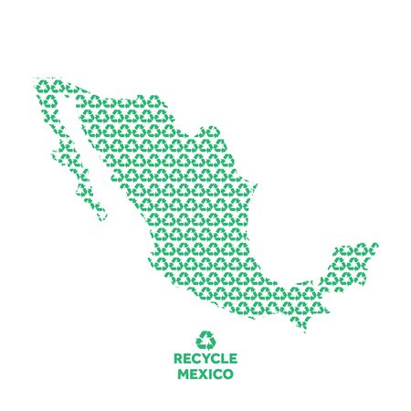 Mexico map made from recycling symbol. Environmental concept Çizim