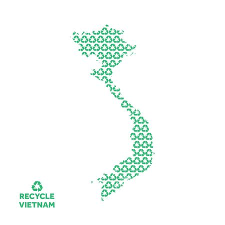 Vietnam map made from recycling symbol. Environmental concept