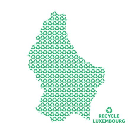 Luxembourg map made from recycling symbol. Environmental concept Çizim